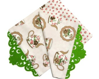 Teapot, Plate, Teacup Patterned Cotton Duck Fabric Table Runner With Green Felt Border and Floral Fabric Linned
