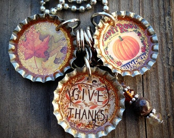 Autumn - Give Thanks Themed Bottle Cap Necklace
