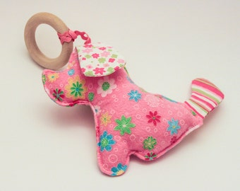 Pink Flannel Doggie Teething Toy / Baby Comforter made in Israel by CasaDeGato