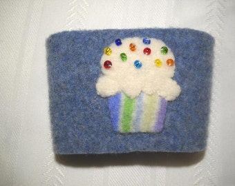 Felted Wool Cupcake Coffee Cozy