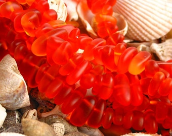 """8"""" Tangerine Red small 6mm 9mm chip pebble sea beach velvet glass beads frosted recycled"""