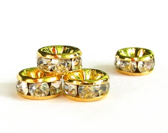 24pcs 4mm 5mm 6mm 7mm 8mm 10mm 12mm gold plated brass Rhinestone Rondelle beads - middle east stone - crystal clear - quality