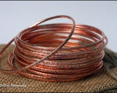 Copper Jewelry, Art Jewelry, Bangle Bracelets, Textured, Handmade to Order, Handmade Bangles Set of 6 Forged Shiny Copper Bangles