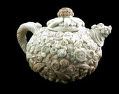 Unique collectible teapot ombre neutral colors polymer clay over ceramic
