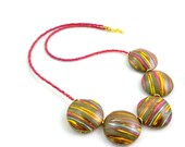 Unique statement necklace striped polymer clay