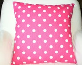 Pink Polka Dot Pillow Covers, Decorative Throw Pillows, Cushion Covers, Euro Sham Bed Cushions Home Decor Girls Pillow One or More All Sizes