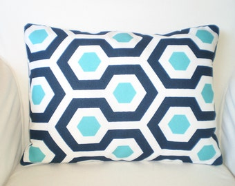 OUTDOOR Navy Blue Aqua Pillow Covers Throw Cushions Lumbar Turquoise Aqua Navy White Magna Oxford Decorative Pillow, One 12 x 16 or 12 x 18