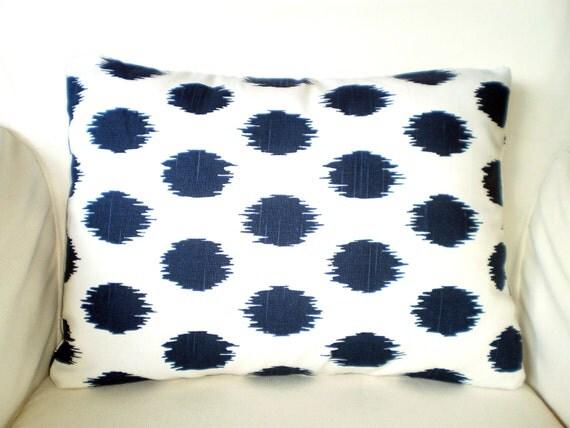 Navy Blue Decorative Bed Pillows: Items Similar To Lumbar Pillow Cover, Navy Blue Ikat
