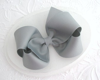 """4"""" Grey Boutique Style Hair Bow, Toddlers, Girls"""