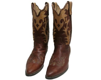 Vintage Western Boots Mens Brown Leather Inlay Rockabilly Cowboy Boots Mns US Size 10 1/2 D