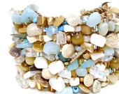 Beach Cuff Bracelet Statement Jewelry Heavily Beaded Shell Jewelry Mother of Pearl seashell ivory