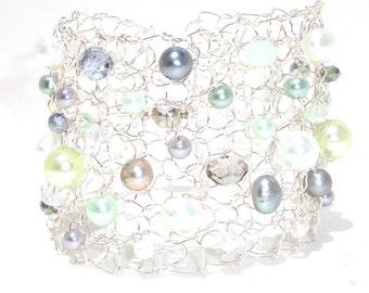 mint green bracelet pearl cuff bracelet arm cuff beaded bracelets jewelry for girlfriend statement bracelet handmade summer jewelry for her