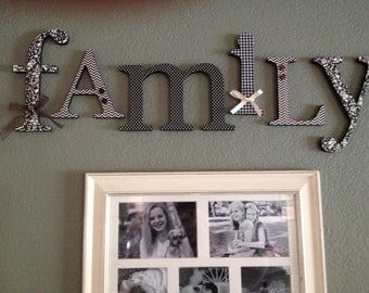 Wood Letters, Family Sign, Black and Cream, LIving Room Decor, Entryway, Photo Wall, Wooden Letters- six-letter set, 6 inch