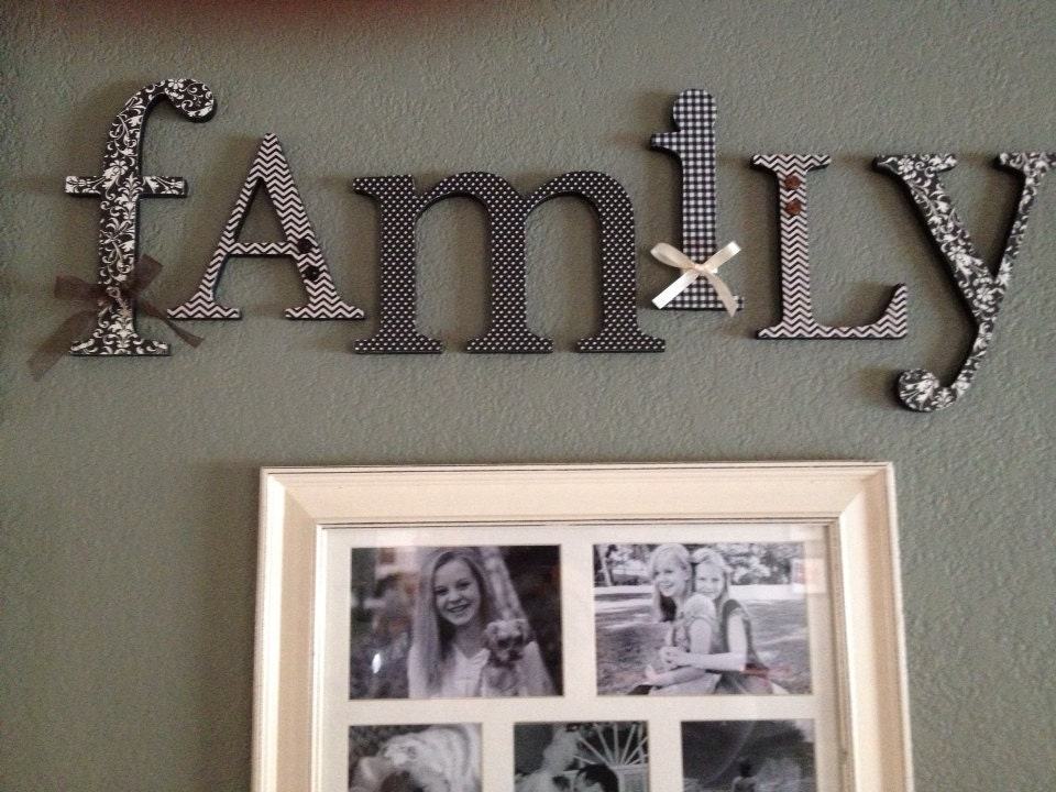 Wood letters family sign black and cream living room decor for Living room 6 letters