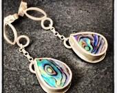 Sterling silver handmade earrings with paua shell, hallmarked in Edinburgh