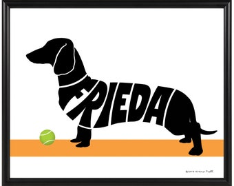 Personalized Dachshund Print, Smooth or Wirehaired Dachshund Decor, Framed 8x10 Dog Silhouette Name Art