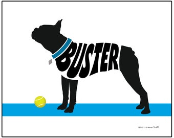 Personalized Boston Terrier Silhouette Art Print, Boston Terrier Gifts, Dog Memorial Gift