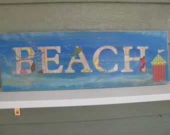 BEACH Cabana  Sign  Hand made