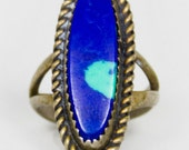 Vintage Sterling Silver Azurite Ring - Size 4