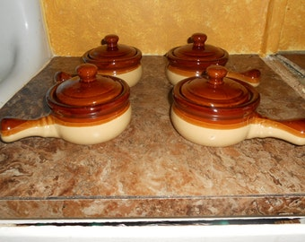 Stoneware French Onion Soup Bowls/Crocks With Lids-Set of 4