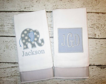 Monogrammed Burp Cloth Set for Baby Boys - Light Blue & Grey Elephant - Embroidered Personalized Gift Set