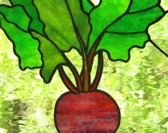 Stained Glass Beet  Panel  Window Art