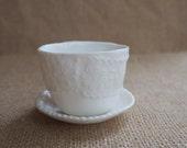 Drink Me - Alice in Wonderland Porcelain Espresso Cup, Lace Detail, handmade pottery