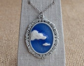 Ceramic Jewellery Cloud 9 Porcelain Pendant, Blue Sky Cameo by Mrs Peterson Pottery
