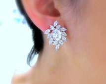 Wedding jewelry bridesmaid jewelry bridal earrings prom party gift wedding earrings marquise cluster cubic zirconia post stud