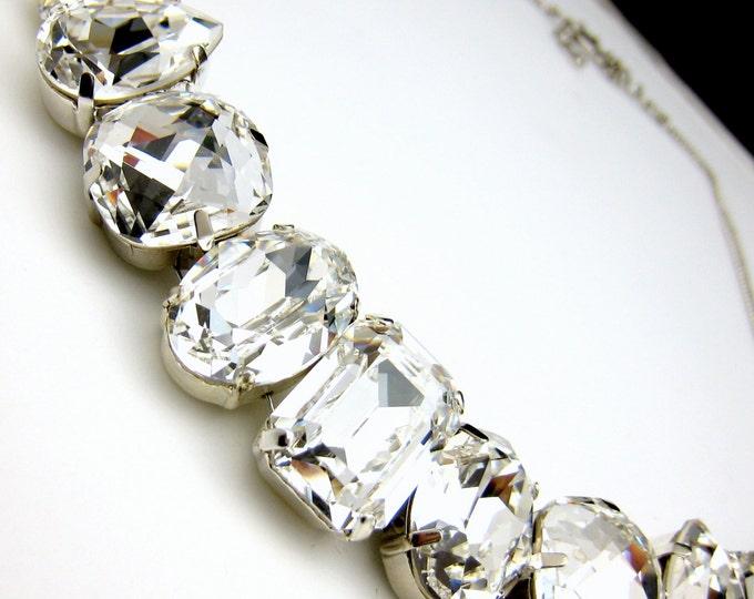 Bridal necklace wedding necklace Swarovski clear white vintage multi shape foiled pendant crystal rhinestone chunky cubic statement necklace