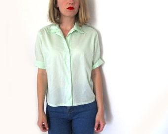 vintage blouse 50s womens clothing shirt light green 1950s size s m small medium