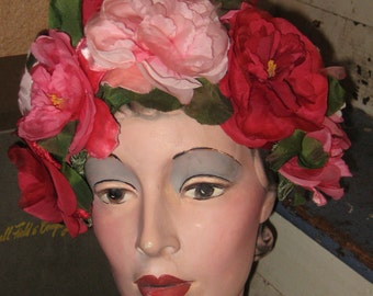 Stop N Smell The Roses Bouquet Rose Hat with Hat Box Marshall Field N Company