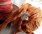 Sari Silk Recycled Ribbon in a Amber Peachy Color Blend