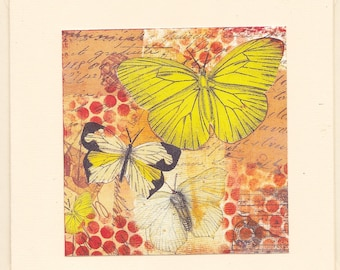 Note / greeting card - Butterlfies (print of original mixed media collage)