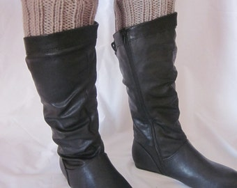 Hand Knit Boot Cuffs, Boot Toppers. Leg Warmers- Taupe