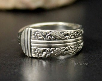 Spoon ring, ring, spoon jewelry, flower ring, handmade spoon ring, Bohemian spoon ring, promise ring, silver spoon ring,  band ring,