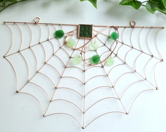 Half Circle Spider Web Wire Art Gift for Bug Lovers, Birthday Gift, House Warming Gift, Fantasy Window Feature, Unique Spider Web
