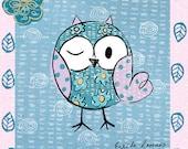 Art Print, illustration,Blue,Owl,