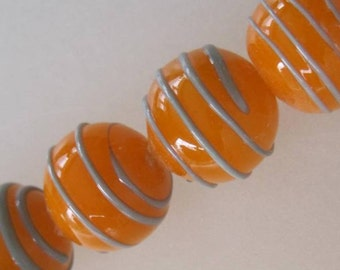 SPIRALS - Orange with Copper Green - 6 Handmade Lampwork Glass Beads - Inv126-G2