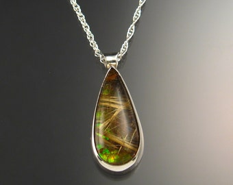 Rutilated Quartz and Ammolite large Doublet Necklace Handcrafted in Sterling Silver