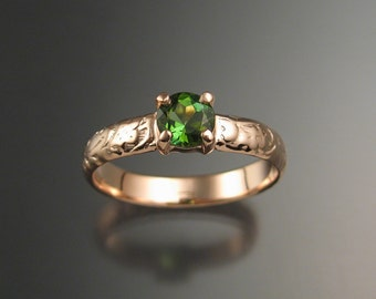 Green Tourmaline Wedding ring 14k rose Gold Emerald substitute ring made to order in your size