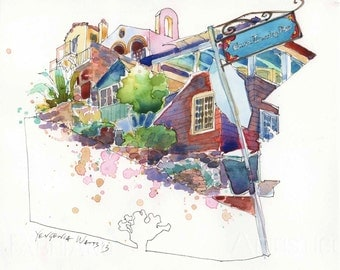 East Whittley Ave Catalina Avalon - Signed Fine Art Giclee Print