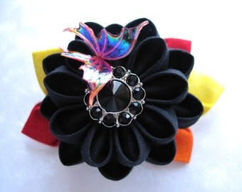 Child of Flame Kanzashi Flower Butterfly Hair Clip