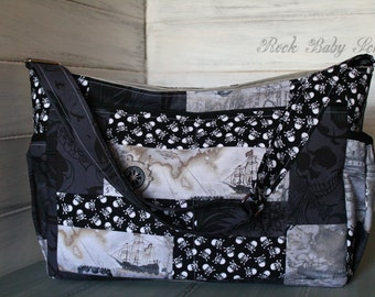 Custom Made Patchwork Quick Trip Diaper Bag or Purse 10 Pockets and Adjustable Shoulder or Cross Body Messenger Strap