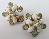 Vintage Rhinestone Earrings Milk Glass Floral Bridal Wedding Button Clip On Antique Jewelry 1950s 1960s Mid Century Prom Pageant Bouquet