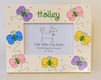 Personalized Picture Frame Polka Dot Butterflies