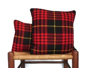 Pillows Tartan Red Scotch Plaid Covers Set Retro Up Cycled Sweater