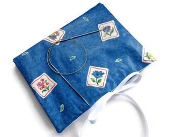 Circular Knitting Needle Organizer Blue Flowers Book Fold Needle Case with 12 Pockets Grosgrain Ribbon Closure Needle Storage