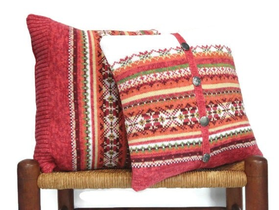 Knitted Pillow Covers Fair Isle Up Cycled Sweater Rust