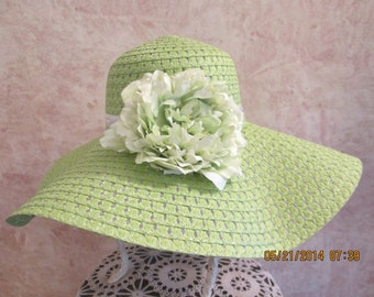 Lime Straw Hat - Wide Brim Floppy Hat - Women's Derby Hat - Women's Straw Hat - Sun Hat
